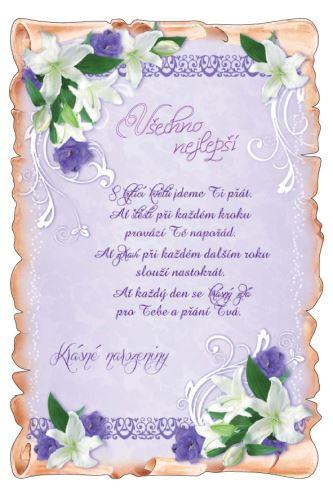 BOG 1726/60 skl.  - Blahopřání do obálky listina skl.